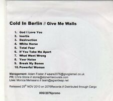 (EU293) Cold In Berlin, Give Me Walls - 2010 DJ CD