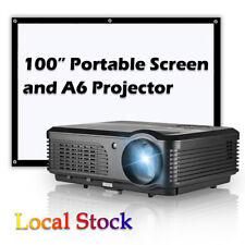 "LED Multimedia Projector Home Theater Movie HDMI and 100"" Portable Screen 16:9"
