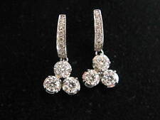 Fine Round Cut Diamond Triplet White Gold Drop Earrings 14KT 1.78Ct F-VS1