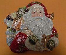 Fitz & Floyd Christmas Santa Canape Dish, New, Bag of Toys and Gifts