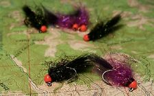 6 Tungsten Jig Head Egg Sucking Micro Leeches size #12 in Purple and Black