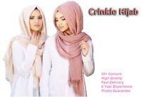 Crinkle Scarf Hijab Plain Maxi Crimp Scarves HeadScarf Frayed Edges Ruffle