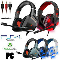 3.5mm Gaming Headset Mic Headphones Stereo Bass Surround For PC New Xbox One PS4