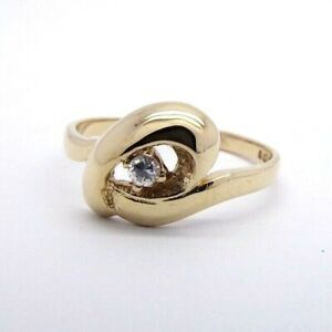 CZ Solitaire Twist Ring - 9ct Yellow Gold - UK Size O