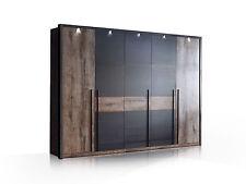 ERLIN Kleiderschrank inkl. Beleuchtung Schlafzimmer B270 cm Dekor Schwarzeiche