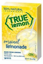 4 True Lemon Original LEMONADE Drink Mix 40 Total Packets  SEALED BOX