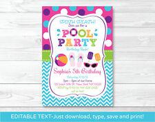 Girls Pool Party Printable Birthday Invitation Editable PDF