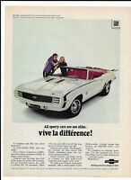 WHITE CHEVROLET CAMARO Vintage 1968 Print Ad ~ Killy Vive La Difference!