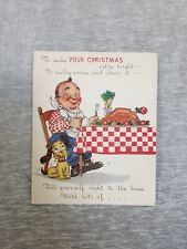 Vintage Christmas Greeting Card Christmas Dinner Puppy Checkerboard Tablecloth