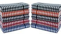 Pk of 10 Tea Towel Set 100% Cotton Terry Mono Check Multi Colour Kitchen Dish !!