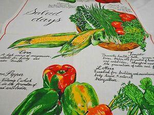 Vintage Teatowel 'Salad Days' Linen/Cotton Blend by Ross Australia Brand New