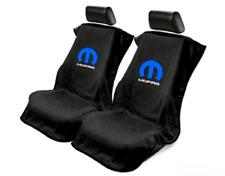 Pair 2 New MOPAR Blue M Logo Emblem Black Towel Protector Seat Armour Covers