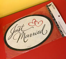 JUST MARRIED CAR MAGNETIC SIGN w/ Heart WEDDING CAR MAGNET