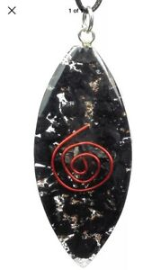 Shungite Crystal Orgonite Pendant Orgone Oval Lens Copper Spiral Healing Necklac