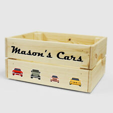 Personalised Wooden Car & Vehicle Toy Box For Kids BOY GIRL Children Storage