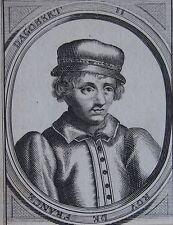 DAGOBERT II ROI DE France, Portrait, gravure 17 ème. Dimensions : 95 mm X 105 mm