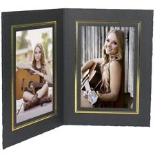 Double 4x6 Black w/Gold Vertical Photo Folders 25 Pack (Same Shipping Any Qty)
