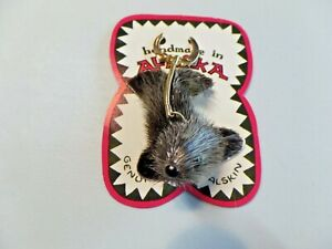 Handmade in Alaska Furry Seal Key Chain New On Card Very Cute