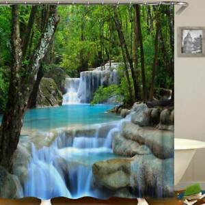 Bathroom Shower Curtain with Hooks Waterfall Nature Scenery Printed Home Decor