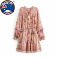 Vintage Floral Print, Long Sleeve,Ruffles,Tassels, Mini Boho Pink/Gold Dress