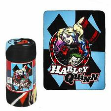 DC Comics Licensed Harley Quinn Blue Diamonds and Joker Fleece Throw Blanket