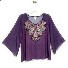 Chico's Blouse Size 2 Medium Purple India Print Sparkle Sheer Sleeves