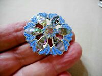 VINTAGE MEXICAN ENAMEL SHELL DECORATED ALPACCA BROOCH  J40106
