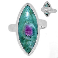 Adjustable Ring - Ruby in Fuchsite 925 Sterling Silver Ring Jewelry s.7 RIFR1239