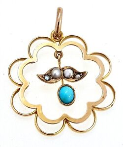 9k Turquoise and Seed Pearl Vintage Articulated Pendant_375 yellow gold