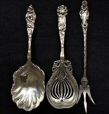 Antique Lily Sterling Silver Serving Pieces (3) Unknown American Makers Mark