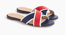 New- J Crew Cora Colorblock Leather Slides Sandals, Navy Blue/Red - Size 7.5