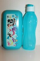 Tupperware Twin Brot-Früstuck-Lutch-Dose Maxi Nixen Eco Esay Flasche blau 750ml