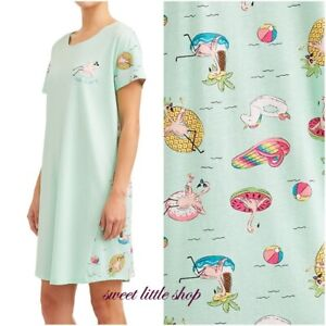 Secret Treasures Flamingo Summer Sleep Shirt Night Gown Womens Size L XL 14 18