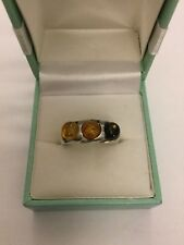 Amber ring three amber stones set in silver