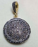 Natural Pave Diamond Pendant 925 Silver Pendant Round Shape Finish Pendant