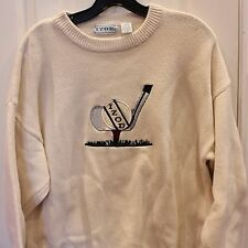 VTG Izod Golf Sweater Mens Pullover White Sz L Crew Neck Embroidered Clubs
