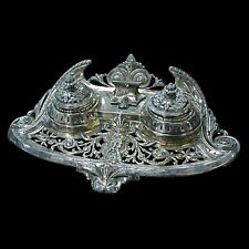 Spectacular Antique 19th C. Silver Plate Inkwell #2530