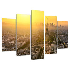 Set 5 TORRE EIFFEL GIALLO CANVAS Wall Art immagini Parigi Francia 5153