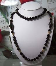 Black Onyx With 14k Gold Beaded Necklace. BON009.