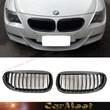 For 04-10 BMW E63 E64 Model 645Ci M6 650i Shiny Black Front Kidney Grille 1 Set