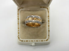 "Wide Wedding Band Ring ""G� Hallmark 14K Vintage Yellow & White Gold"