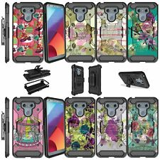 For LG G6 H870 (2017) Shockproof Dual Layer w/ Kickstand Holster Case - Flowers