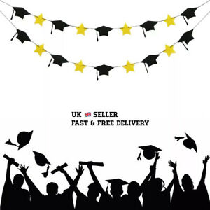 Graduation Hat and Star Banner Bunting Garland Ceremony Party Decoration UK