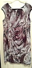 Dressbarn Sleeveless Brown & White Floral Print Dress Size 20