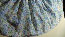 "BED SKIRT Dust Ruffle King 76"" L X 76"" W X 13 1/2""  Blue Flowers & Raspberries"