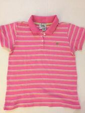 Lilly Pulitzer girls sz 14 pink lime green wht striped cotton polo shirt VGUC