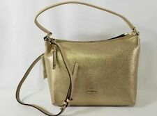 $228 Calvin Klein Womens Angelina Suede Hobo Handbag Gold H8ACM7CR New With Tags