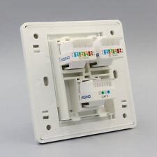 Wall Socket Dual Network LAN Cat5e RJ45 & RJ11 Cat3 Telephone Outlet Panel