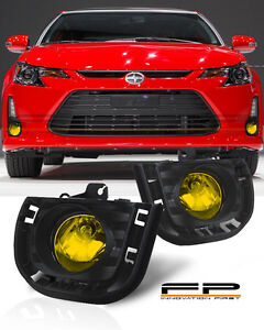 2014-2016 Scion tC Yellow Lens Front Bumper Driving Fog Lights Full Complete Kit