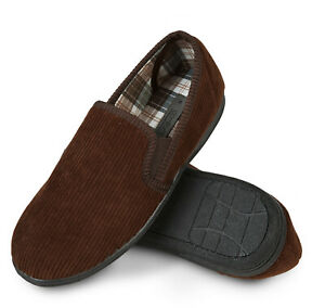 Mens Brown Soft Cord Slippers Comfy Warm Full Non Slip sole Size 7 8 9 10 11 12
